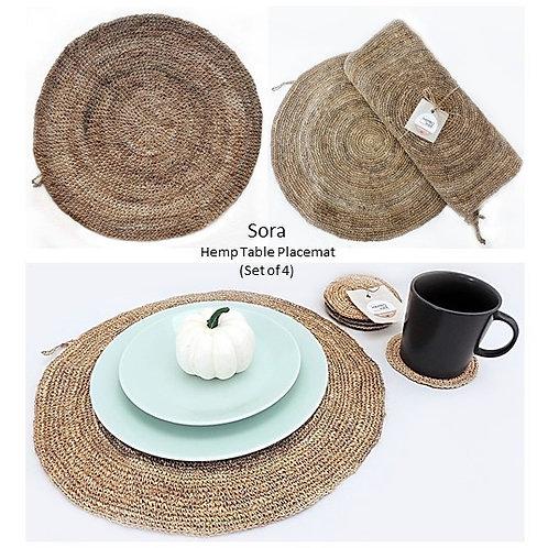 Sora - 100% Natural Hemp Handmade Round Placemat (Set of 4)