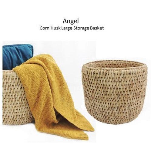 Angel - Corn Husk Large Storage Basket