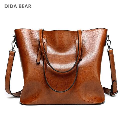 DIDA BEAR Tote Bag Female Pu Shoulder Bags Bolsas Femininas Sac a Main Brown