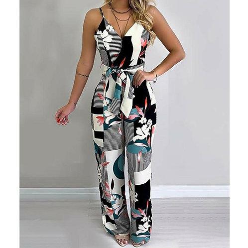 Women Boho Romper Floral Casual Summer Jumpsuit Bodysuit Sleeveless Loose Long