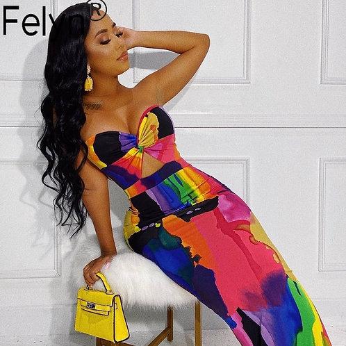 Felyn 2020 Best Quality Fashi Print Off Shoulder Summer Night Party Maxi Dress