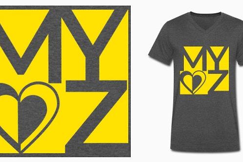 BIO Shirt Männer dunkelgrau Logo gelb