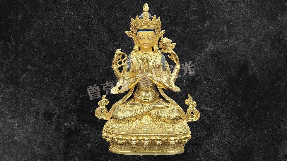 四臂觀音菩薩銅像已在寺院安藏加持