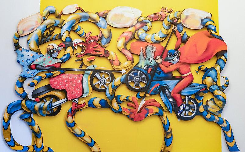 Tác phẩm Thánh Gióng Đương Đại - Bảo Tàng Nghệ Thuật Quốc Gia Đài Loan - 200x300(cm) DSC00