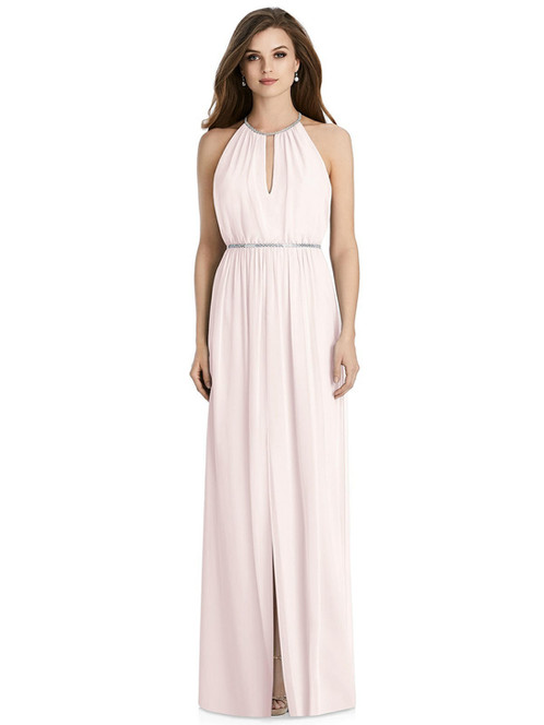 0ec596b9ac7f Turn up the volume on elegance and distinguished fashion with this  full-length lux chiffon modified halter dress. A keyhole detail on its  blouson bodice ...