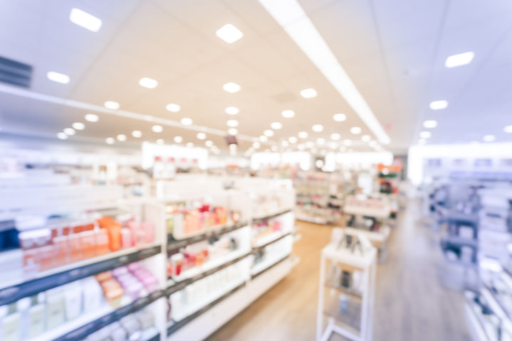 Blurred image beauty stores with variety