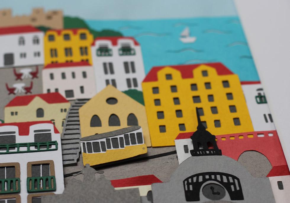 Lisbon Papercut Illustration
