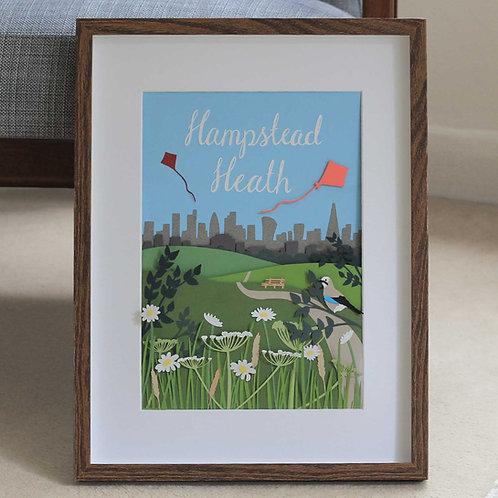 Hampstead Heath Handmade Papercut Illustration