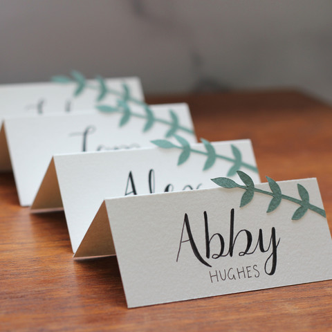 Hand Lettered Place Name with Papercut Leaves