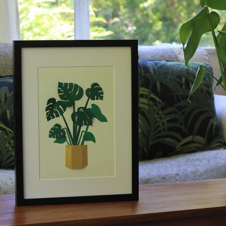 Monstera Plant Papercut Illustration