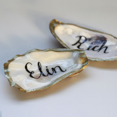 Hand Lettered Oyster Shell Place Names