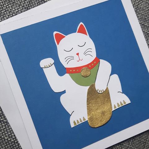 Handmade Lucky Cat Card