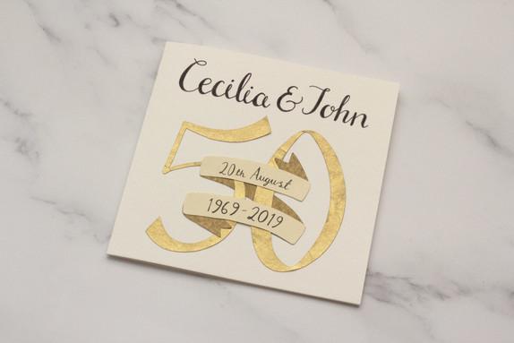 Hand Lettered Golden Wedding Card