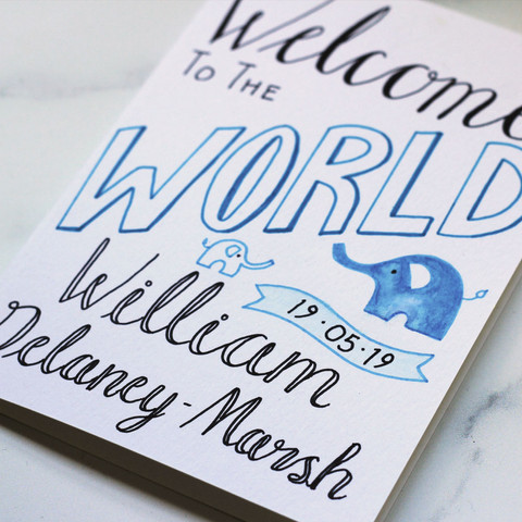 Hand Lettered New Baby Card