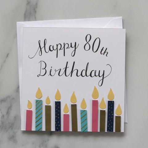 Hand Lettered 80th Birthday Card