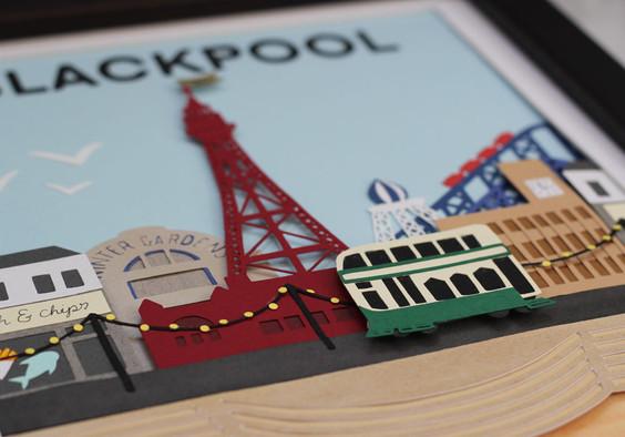 Blackpool Papercut Illustration