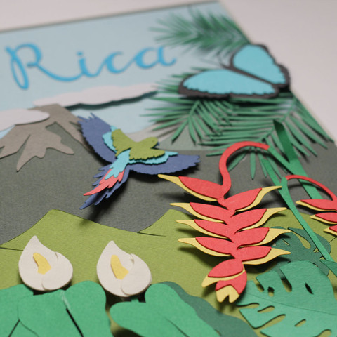 Costa Rica Papercut Illustration