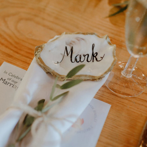 Hand Lettered Oyster Shell Place Name