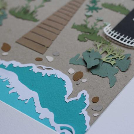 Dungeness Papercut Illustrations -detail