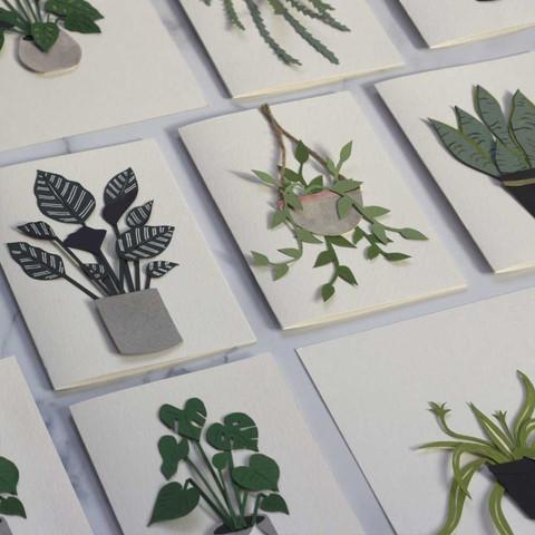 Handmade Papercut Plant Cards