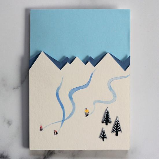 Papercut Skiers Card
