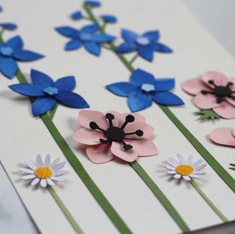 Spring Flowers Papercut Illustration
