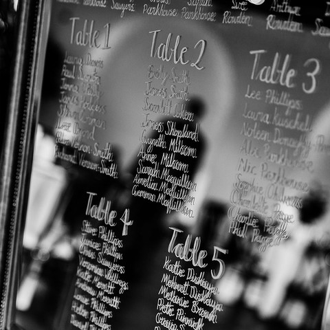 Hand Lettered Mirror Table Plan