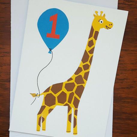 Handmade Giraffe Birthday Card
