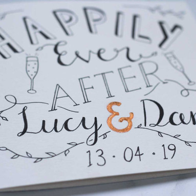 Hand Lettered Wedding Card