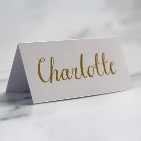 Hand Lettered White and Gold Place Name