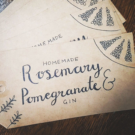 Hand Lettered Gin Labels