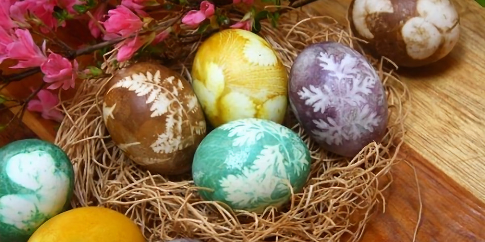 Easter Eggs painting with natural elements