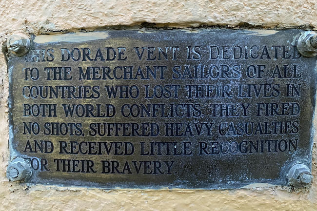 07 - A memorial plaque for a dorade vent and sculpture artwork at the end of Pearse Street