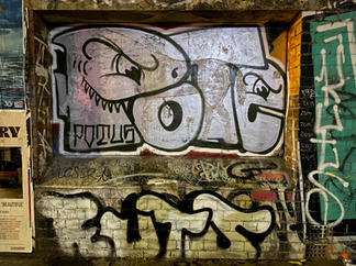 Pote graffiti tag at the Fremantle Woolstores - 07 January 2021