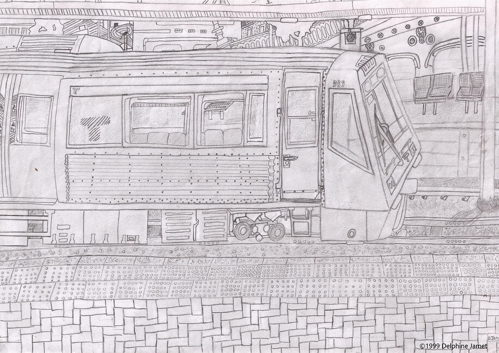 Perth Westrail train drawing: View from Platform 1 at Perth Station, Western Australia by Delphine Jamet