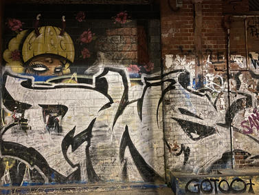 A graffiti tag at the Fremantle Woolstores - 07 January 2021