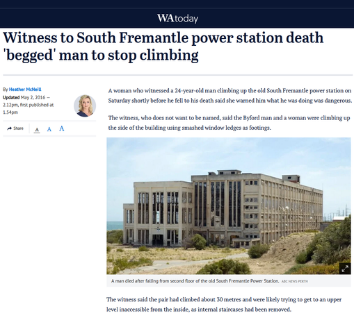 Man, 24, dies after falling from old South Fremantle Power Station