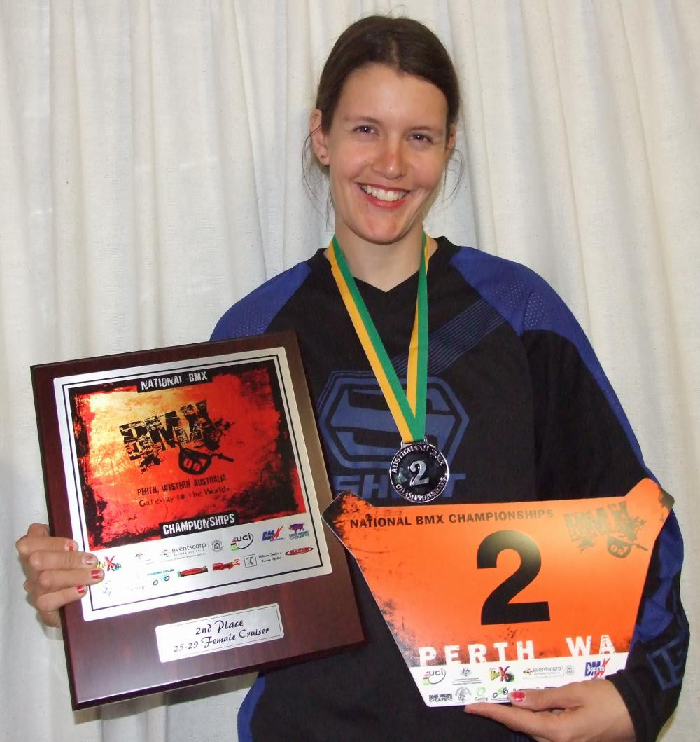 Delphine Jamet placing 2nd in Australia in the 2009 National BMX Championships held in Brigadoon
