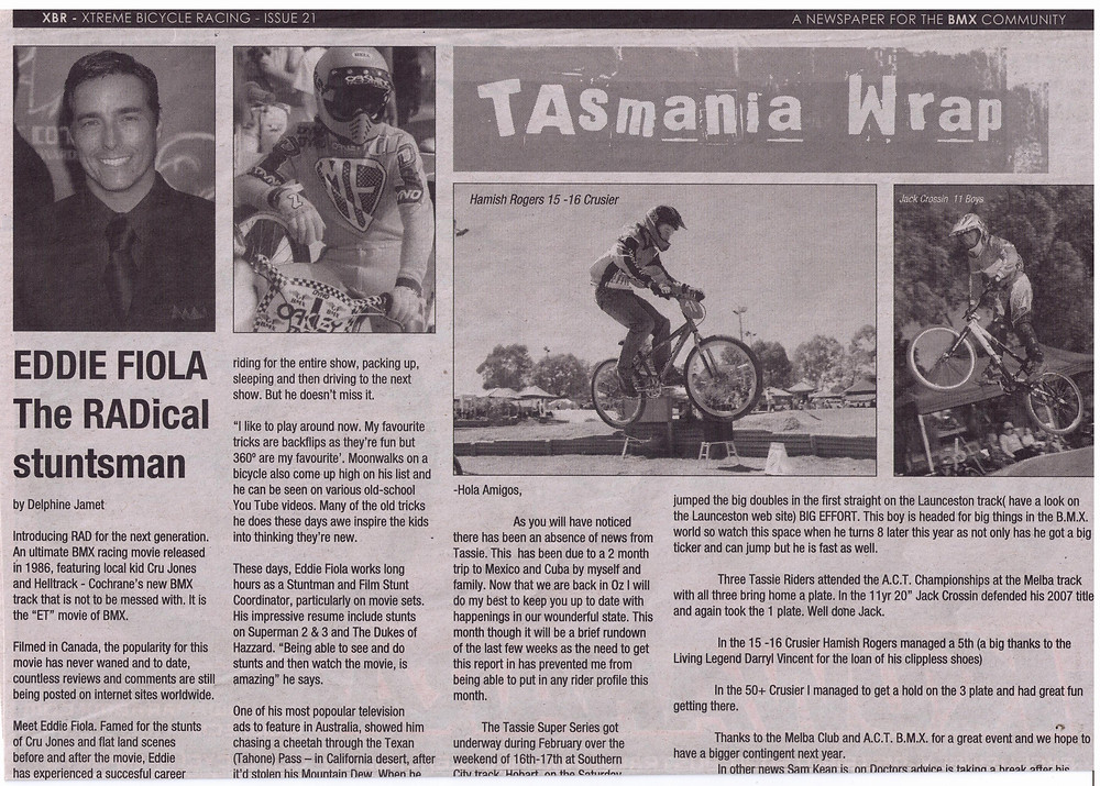 Eddie Fiola The RADical stunstman as Cru Jones racing Helltrack in Cochrane - interviewed by Delphine Jamet for XBR - Xtreme Bicycle Magzine