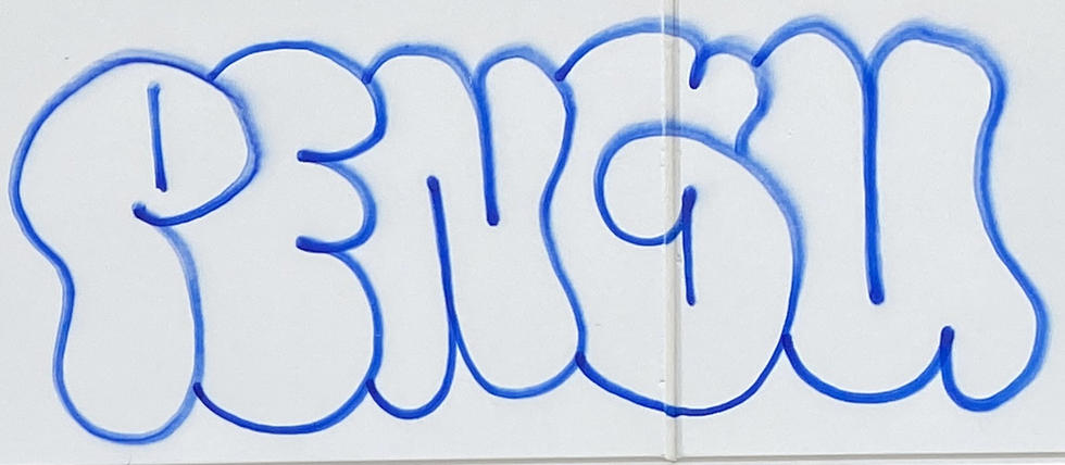 Pengu graffiti tag in a vacant block at 190 Adelaide Terrace, East Perth - 05 March 2021
