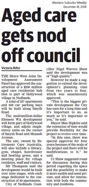 Aged care gets nod off council - 18 Dece