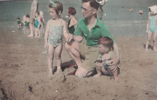 An undated family photo at the beach