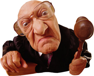 Image of a judge sitting on the bench about to make a decision with his gavel in hand as he listens to The Lawyer Rhyme by Perth Girl Delphine Jamet