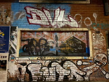 DVW graffiti tag at the Fremantle Woolstores - 07 January 2021
