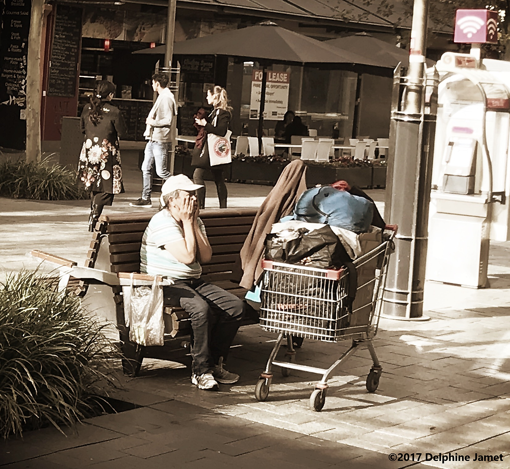 A homeless woman in Murray Street Mall Perth, Western Australia - more older females living rough or in shelters an unexpected shock