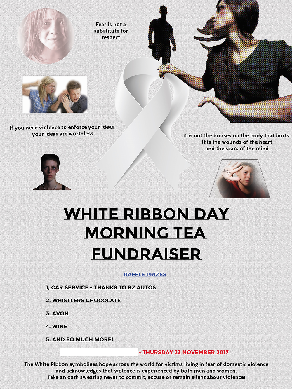 White Ribbon Day Australia Morning Tea Fundraiser poster - 2017 Delphine Jamet domestic violence against women and children gendered commitment