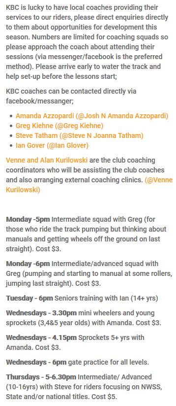 2017 Karratha BMX Club Internal Coaching