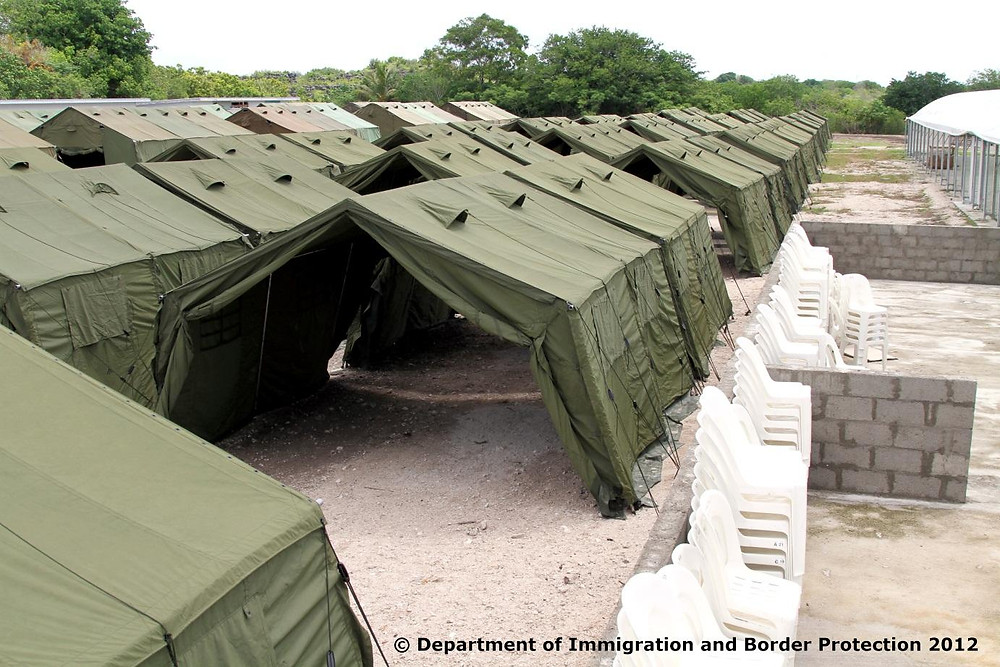 Tent accomodation at Nauru Immigration Detention Centre, an offshore Australian immigration detention facility, located on the South Pacific island nation of Nauru