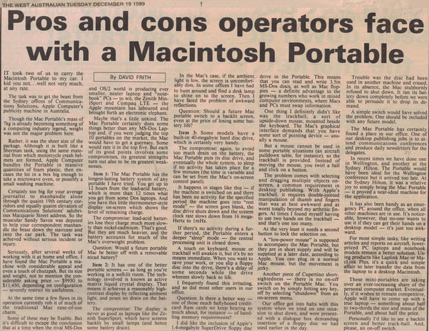 Pros and cons operators face with a Macintosh Portable - 19 December 1989
