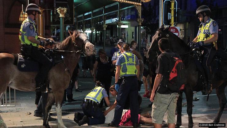 Western Australia police in Northbridge